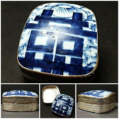 Vintage Chinese Silver Plated on Copper with Blue Tile Ceramic Top Trinket Box