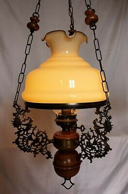 French Country Oil Lamp Hanging Style Electric Cabin Farmhouse Wood Mid Century
