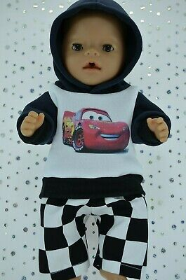 "Play n Wear Doll Clothes To Fit 17"" Baby Born FLEECY HOODIE~CHECK PANTS"