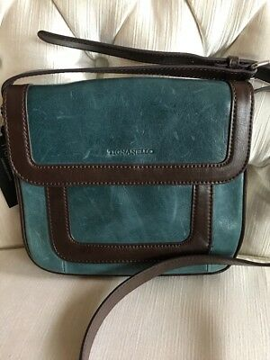 Tignanello Cross Body, Juniper /Brown Soft Leather Vintage Item! MSRP $165.00
