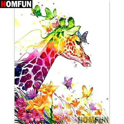 5D Diamond Painting Abstract Colored Giraffe and Butterflies Kit