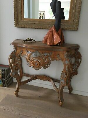 Antique Classic French Chic Regency rococo carved console table Mid 18th century