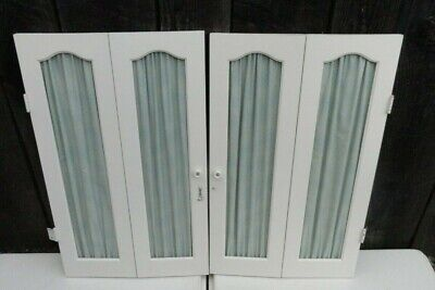 Pair of Vintage Wood Interior Window Shutters Curtain Style White 25 1/2 x 15""