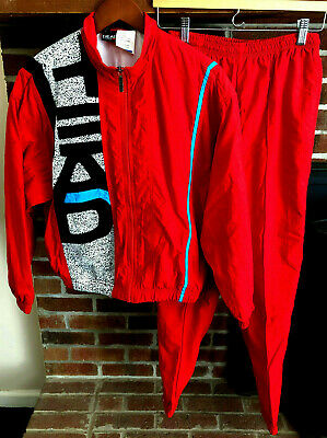Vintage HEAD Women's Sz Small Lined Track Suit Jacket Pants Full-Zip Red 80s VTG