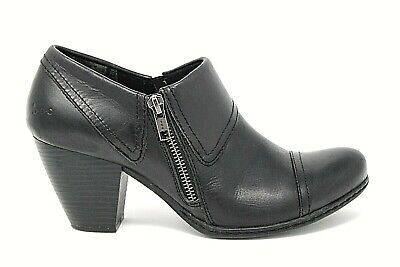 8482e32a4ef B.O.C BORN Womens Black Leather Zip Cap Toe Ankle Booties Boots Size 8 M