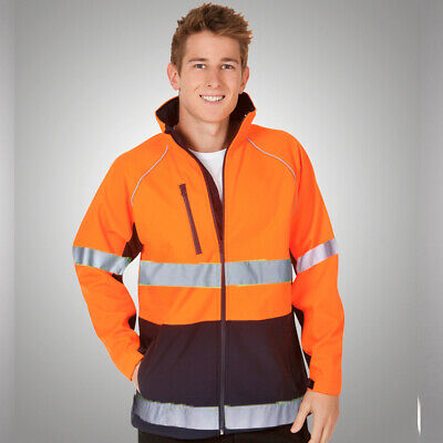 Hi Vis Safety Jacket Soft Shell Waterproof Wind Proof With Refelective Tape
