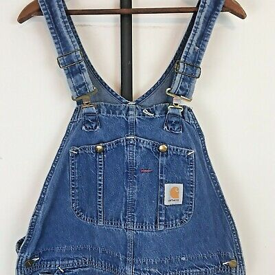 Vintage 90s Carhartt Denim Bib Overalls Mens 36 x 31 Blue Paint Stains USA Made