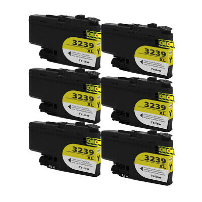 6 Yellow Compatible Ink Cartridges, For Brother LC3239 XL, LC-3239XLY, NON-OEM