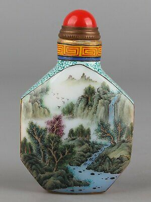 Chinese Exquisite Handmade landscape Glass snuff bottle