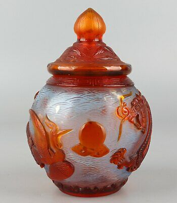Chinese Exquisite Handmade Dragon phoenix Carving Glass pot