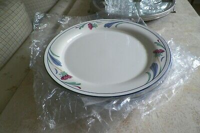 Lenox Chinastone Poppies on Blue Dinner Plates Set of 4