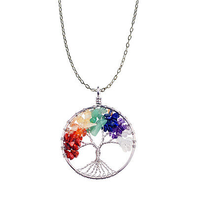 7 Chakra Tree Of Life Pendant Necklace Natural Crystal Quartz Stone Copper Bead