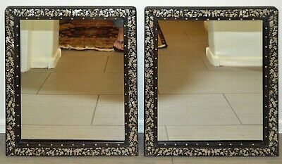 PAIR OF ANTIQUE CHINESE ROSEWOOD MIRRORS w/ MOTHER OF PEARL INLAY ~ RARE FIND