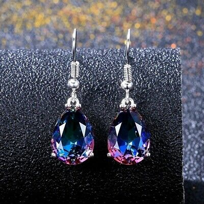 925 Silver 10 * 14 Mystic Rainbow Topaz Hook Earrings Women Wedding Jewelry Gift