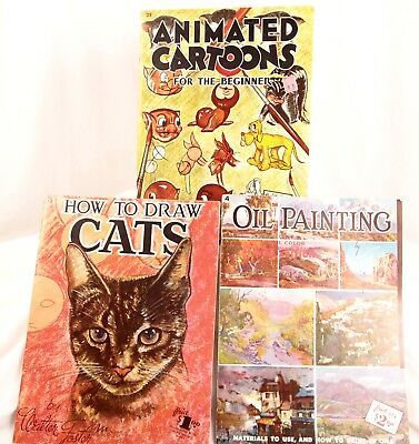 Vtg Walter Foster Drawing Painting Instruction Books. Cats, Cartoons, Oil Paint