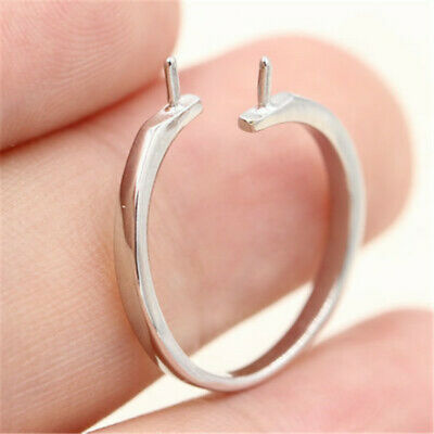 Fasion  DIY silver plated 2 pearls ring mount women's ring size adjustable R3