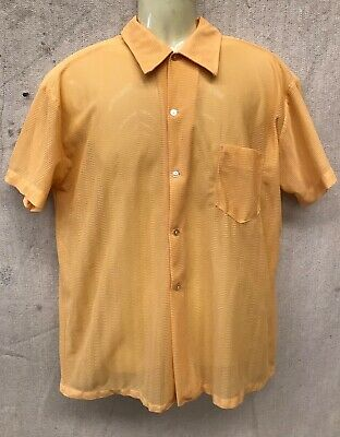 Vintage ROCKABILLY YELLOW WOVEN Polyester SHIRT Retro Hipster Mod