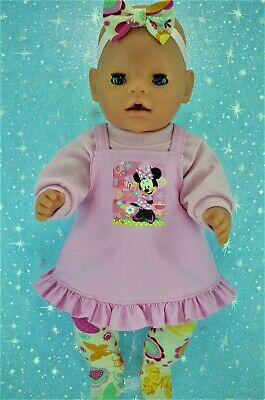 """Play n Wear Doll Clothes To Fit 17"""" Baby Born PINK DRESS~TOP~TIGHTS~HEADBAND"""
