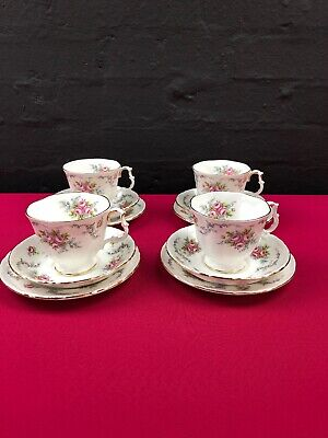 4 x Royal Albert Tranquility Tea Trios Cups Saucers and Side Plates