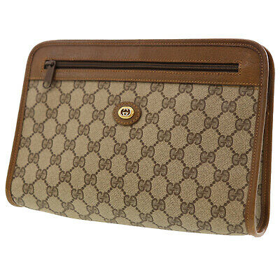 a03c3837bd03 GUCCI GG Supreme Canvas Clutch Beige PVC Leather Italy Vintage Authentic  #AA375