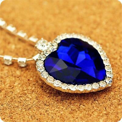 Titanic Heart Of The Ocean Sapphire Blue Crystal Movie Necklace Pendant New.
