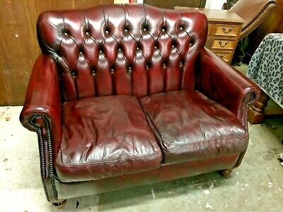 Gorgeous Hand Dyed Vintage Thomas Lloyd 2 Seat Oxblood Leather Chesterfield Sofa