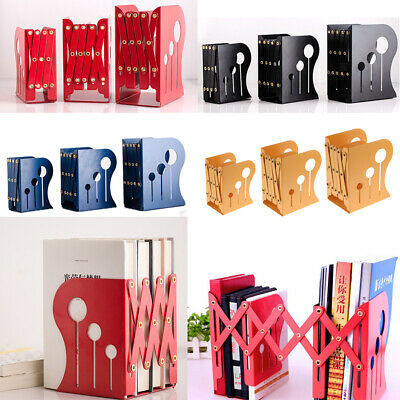 Metal Iron Adjustable Bookends Book Stand Desk Heavy Duty Nonskid Holder