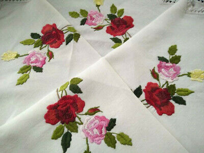 Stunning Coloured Roses & Buds ~ Vintage Hand Embroidered Tablecloth 51+""