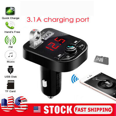 US Bluetooth Car USB Charger FM Transmitter Wireless Radio Adapter MP3 Player.