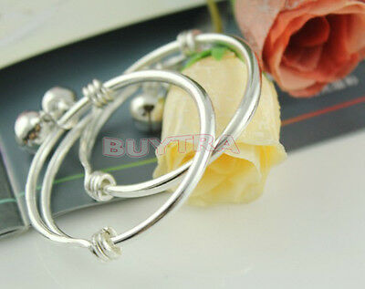 Silver Plated Newborn Kids Baby Bells Bracelet Bangles Anklet Adjustable EO