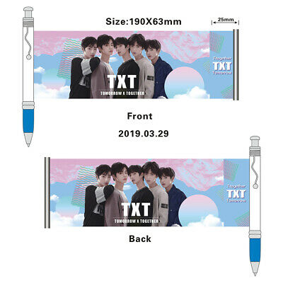 Kpop New TXT Ballpoint Pen Black Ink Gel Pen with Cute Photo Stationery