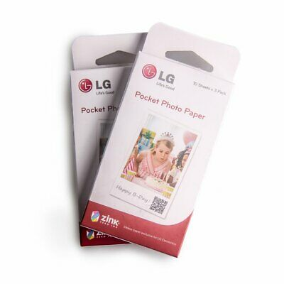Pocket Photo Paper 30 Sheets fit for LG Pd239 /pd233 /pd221 Pocket Photo Printer