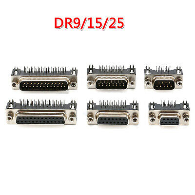 DR15 DIY 9/15/25-pin Serial D-Sub Connector Right Angle - Male & Female Plug
