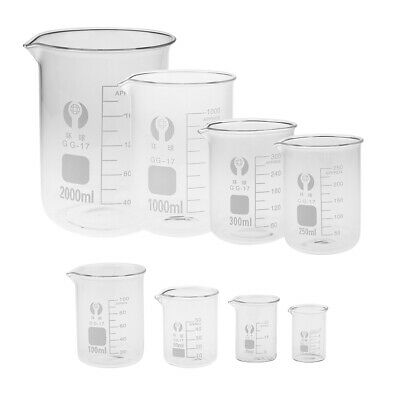 Lab Test Graduated Measuring Cups Low Form Griffin Beakers Kitchen Baking Jugs