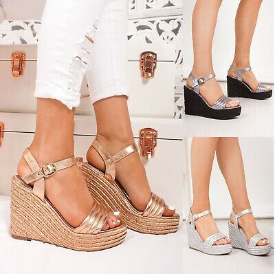 Ladies Wedge Womens Heels Strappy Summer Dress Party Evening Sandals Shoes Size