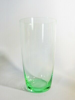 Stunning Vintage Art Deco Antique Clear Green Depression Glass Water Tumbler