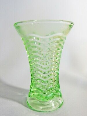 Cute Vintage Antique Art Deco Green Depression Glass Small Flower Vase Geometric