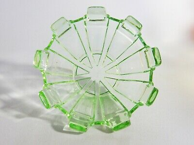 Superb Antique Art Deco Green Depression Glass Nine 9 Sided Bowl Dish Ashtray