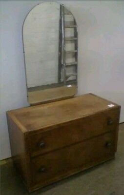 Vintage Two Drawer Art Deco Style Dressing Table Tall Arched Mirror