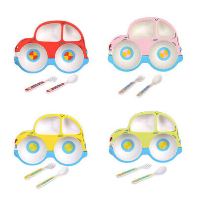 Car Shaped Kids Plate Bamboo Fiber Reusable Dinner Divider Tray Spoon Fork