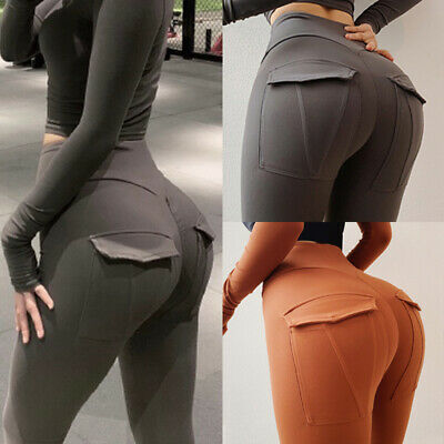 Womens Yoga Pants Butt Lift Leggings Fitness Pockets Gym Sports Running Trousers