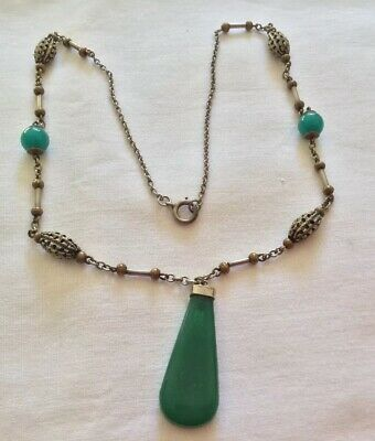 Vintage Art Deco Czech Green Hardstone Drop Necklace c1920/30's