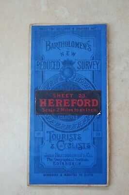Antique Bartholomew's Map of Hereford, c1912