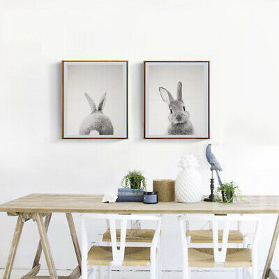 Set 2 Unframed Modern Art Oil Painting Canvas Picture Rabbit Wall Decor