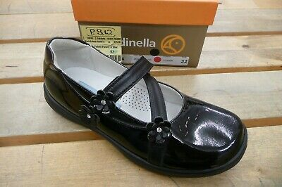 Rondinella Black Patent Leather Girls Cross Strap Flower School Shoes 32/13 SALE
