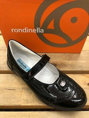 Rondinella Black Patent Leather Girls Jewel School Shoes 31-UK 12.5 Only SALE