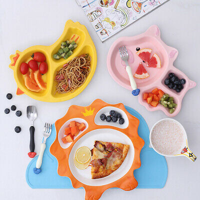 Ceramic Dinner Plates,3-Section Divided Plates for Kids, Camping, Mess Trays