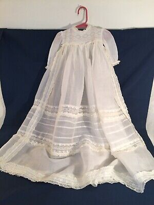 Antique Vintage Christening Baptismal Gown With Matching Bonnet