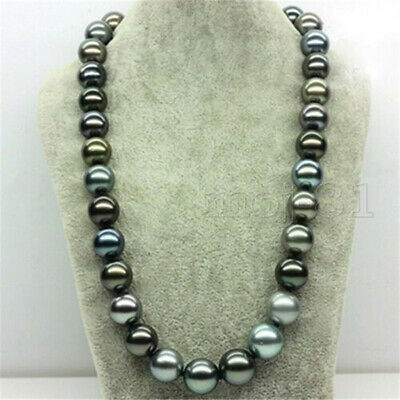 Huge 12mm Genuine Multicolor South Sea Shell Pearl Round Beads Necklace 18'' z