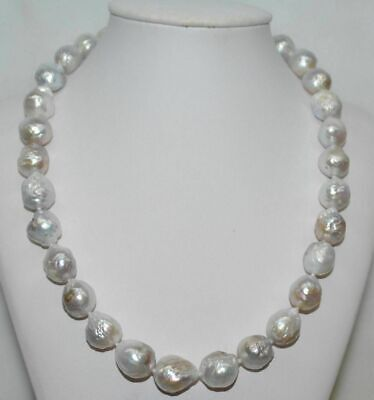Huge 13-14MM natural white baroque  pearl necklace 18inck Gift Wedding Real
